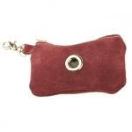Dog Waste Bag Dispenser in Red Suede