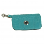 Turquoise Crocodile Print Leather Dog Poop Bag Dispenser