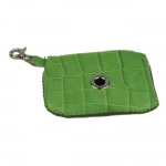 Green Crocodile Print Leather Dog Poop Bag Dispenser