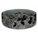 Cuccia Ovale Grigia per Cani Piccoli con Motivi Floreali