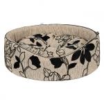 Cuccia Ovale Beige per Cani Piccoli con Motivi Floreali