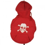 Red Dog Hoodie with Skull
