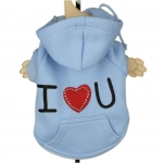 Light Blue I LOVE YOU Dog Hoodie