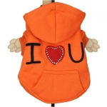 Bright Orange I LOVE YOU Dog Hoodie
