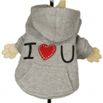 Gray I LOVE YOU Dog Hoodie