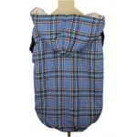 Blue Tartan Sleeveless Coat for Medium Dogs