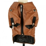 Faux Leather Brown Jacket for Big Dogs