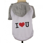 Hooded Dog T-Shirt I LOVE YOU in Grey