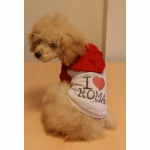 Dog T-shirt I LOVE ROMA with Hood