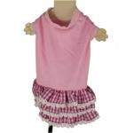 Vestido Rosa para perrita con Falda de encaje a cuadros