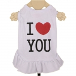 White Dog Dress with I LOVE YOU