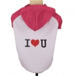 Hooded Dog T-Shirt I LOVE YOU in Magenta