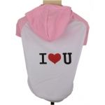 Hooded Dog T-Shirt I LOVE YOU in Pink