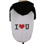 Hooded Dog T-Shirt I LOVE YOU in Black