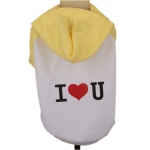 Hooded Dog T-Shirt I LOVE YOU in Yellow