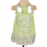 Green Dog Dress with 3 Buttons